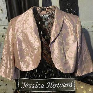Sz20 Beaded Brocade Peach Bolero Jacket